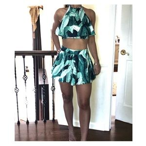 Tropical two piece short and crop top set